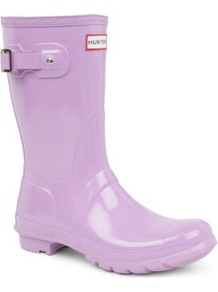 Original Gloss Short Wellies - predominant colour: lilac; occasions: casual; material: plastic/rubber; heel height: flat; embellishment: buckles; heel: block; toe: round toe; boot length: mid calf; style: wellies; finish: patent; pattern: plain