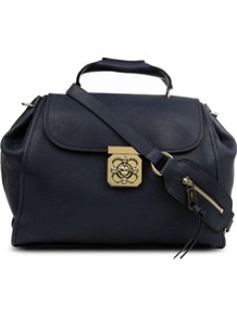 Elsie Medium Leather Shoulder Bag - predominant colour: black; occasions: casual, work; type of pattern: standard; style: tote; length: handle; size: standard; material: leather; embellishment: tassels, zips, chain/metal; pattern: plain; finish: plain