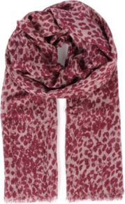 Scribbly Leopard Bamboo Blend Scarf - predominant colour: burgundy; occasions: casual, evening, work; type of pattern: standard; style: regular; size: large; material: fabric; embellishment: fringing; pattern: animal print, two-tone; trends: statement prints