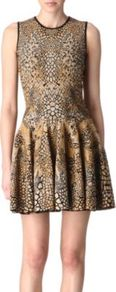Knitted Jacquard Dress - length: mid thigh; sleeve style: sleeveless; waist detail: fitted waist; predominant colour: tan; occasions: evening, work, occasion; fit: fitted at waist & bust; style: fit & flare; fibres: wool - mix; neckline: crew; hip detail: structured pleats at hip, soft pleats at hip/draping at hip/flared at hip; sleeve length: sleeveless; trends: statement prints, glamorous day shifts, metallics; pattern type: fabric; pattern size: small & busy; pattern: animal print, patterned/print; texture group: brocade/jacquard