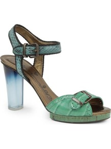 Batton Oxf Leather Sandals - predominant colour: pistachio; occasions: casual, evening, occasion, holiday; material: leather; heel height: high; embellishment: buckles; ankle detail: ankle strap; heel: block; toe: open toe/peeptoe; style: standard; finish: plain; pattern: animal print, plain, colourblock