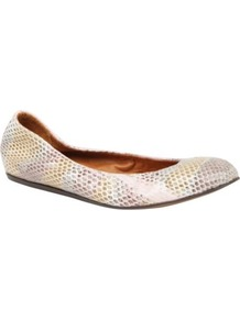 Lancelot Yer Mock Snake Pumps - predominant colour: blush; occasions: casual, evening, work; material: leather; heel height: flat; toe: round toe; style: ballerinas / pumps; finish: plain; pattern: animal print, patterned/print, plain