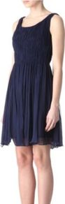 Chiffon Pleat Dress - fit: fitted at waist; pattern: plain; sleeve style: sleeveless; style: full skirt; waist detail: fitted waist, twist front waist detail/nipped in at waist on one side/soft pleats/draping/ruching/gathering waist detail; shoulder detail: tiers/frills/ruffles, flat/draping pleats/ruching/gathering at shoulder; back detail: low cut/open back; bust detail: ruching/gathering/draping/layers/pintuck pleats at bust; predominant colour: navy; occasions: evening, work, occasion; length: just above the knee; neckline: scoop; fibres: silk - 100%; hip detail: soft pleats at hip/draping at hip/flared at hip, sculpting darts/pleats/seams at hip, ruffles/tiers/tie detail at hip; sleeve length: sleeveless; texture group: sheer fabrics/chiffon/organza etc.; trends: glamorous day shifts, volume; pattern type: fabric; pattern size: standard