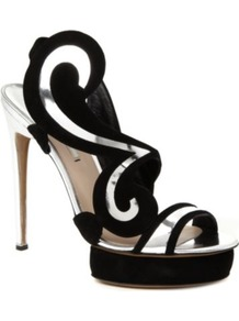 Swirl Suede Sandals - predominant colour: black; occasions: evening, occasion; material: suede; heel height: high; ankle detail: ankle strap; heel: platform; toe: open toe/peeptoe; style: strappy; trends: metallics, sculptural frills, modern geometrics; finish: metallic; pattern: patterned/print, two-tone