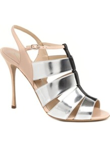 Mich Slingback Leather Sandals - predominant colour: silver; occasions: evening, work, occasion; material: leather; heel height: high; embellishment: buckles; ankle detail: ankle strap; heel: stiletto; toe: open toe/peeptoe; style: strappy; trends: metallics; finish: metallic; pattern: plain, colourblock