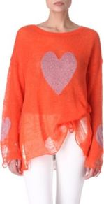 Knitted Heart Jumper - neckline: round neck; sleeve style: dolman/batwing; bust detail: added detail/embellishment at bust, contrast pattern/fabric/detail at bust; length: below the bottom; style: standard; predominant colour: bright orange; occasions: casual; fibres: acrylic - mix; fit: loose; sleeve length: long sleeve; texture group: knits/crochet; trends: volume; pattern type: knitted - other; pattern size: standard; pattern: patterned/print