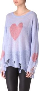 Knitted Heart Jumper - neckline: round neck; sleeve style: dolman/batwing; bust detail: added detail/embellishment at bust, contrast pattern/fabric/detail at bust; length: below the bottom; style: standard; predominant colour: lilac; occasions: casual; fibres: acrylic - mix; fit: loose; back detail: longer hem at back than at front; sleeve length: long sleeve; texture group: knits/crochet; trends: volume; pattern type: knitted - other; pattern size: standard; pattern: patterned/print