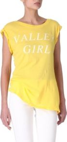 Valley Girl T Shirt - neckline: round neck; sleeve style: capped; length: below the bottom; style: t-shirt; predominant colour: yellow; occasions: casual; fibres: cotton - 100%; fit: body skimming; bust detail: contrast pattern/fabric/detail at bust; sleeve length: short sleeve; texture group: cotton feel fabrics; pattern type: fabric; pattern size: small & light; pattern: patterned/print