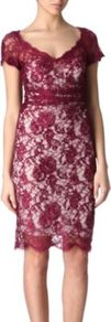 Fitted Lace Dress - style: shift; neckline: low v-neck; fit: tailored/fitted; predominant colour: burgundy; occasions: evening, occasion; length: just above the knee; sleeve length: short sleeve; sleeve style: standard; texture group: lace; pattern type: fabric; pattern size: big & light; pattern: florals; fibres: viscose/rayon - mix; embellishment: lace