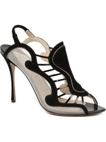 Tammy Suede Sandals - predominant colour: black; occasions: evening, occasion; material: suede; heel height: high; ankle detail: ankle strap; heel: stiletto; toe: open toe/peeptoe; style: strappy; trends: modern geometrics; finish: plain; pattern: plain, striped