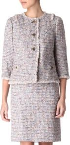 Cropped Bouclé Jacket - collar: round collar/collarless; style: boxy; pattern: herringbone/tweed, patterned/print; occasions: casual, evening, work, occasion; length: standard; fit: straight cut (boxy); fibres: acrylic - mix; back detail: embellishment at back; predominant colour: multicoloured; sleeve length: 3/4 length; sleeve style: standard; collar break: high; pattern type: fabric; pattern size: small & light; texture group: tweed - light/midweight