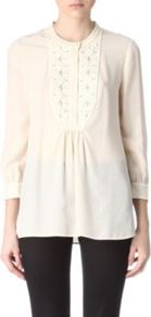 Petal Silk Tunic - pattern: plain; bust detail: added detail/embellishment at bust; length: below the bottom; style: tunic; waist detail: structured pleats at waist; predominant colour: ivory; occasions: casual, work; fibres: silk - 100%; fit: empire; neckline: crew; sleeve length: 3/4 length; sleeve style: standard; texture group: sheer fabrics/chiffon/organza etc.; pattern type: fabric; pattern size: small &amp; light