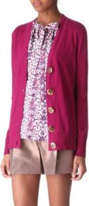 Simone Cotton Cardigan - neckline: low v-neck; bust detail: buttons at bust (in middle at breastbone)/zip detail at bust; predominant colour: hot pink; occasions: casual, work; length: standard; style: standard; fibres: cotton - 100%; fit: standard fit; sleeve length: long sleeve; sleeve style: standard; texture group: knits/crochet; pattern type: knitted - fine stitch
