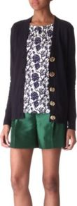 Simone Cotton Cardigan - neckline: low v-neck; predominant colour: navy; occasions: casual, work; length: standard; style: standard; fibres: cotton - 100%; fit: standard fit; sleeve length: long sleeve; sleeve style: standard; texture group: knits/crochet; pattern type: knitted - fine stitch