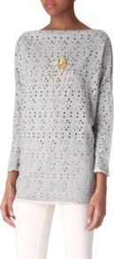 Embellished Skull Top - neckline: slash/boat neckline; bust detail: added detail/embellishment at bust; length: below the bottom; predominant colour: light grey; occasions: casual, evening; style: top; fibres: cotton - mix; fit: loose; sleeve length: 3/4 length; sleeve style: standard; pattern type: fabric; pattern size: standard; texture group: jersey - stretchy/drapey; embellishment: embroidered