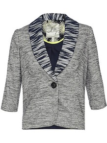 Elizabeth Jacket - style: single breasted blazer; collar: standard lapel/rever collar; pattern: herringbone/tweed; predominant colour: navy; occasions: casual, evening, work; length: standard; fit: tailored/fitted; fibres: acrylic - mix; sleeve length: half sleeve; sleeve style: standard; collar break: low/open; pattern type: fabric; pattern size: small & light; texture group: woven light midweight