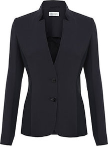 Leandro Jacket - pattern: plain; style: single breasted blazer; collar: standard lapel/rever collar; predominant colour: navy; occasions: evening, work; length: standard; fit: tailored/fitted; fibres: polyester/polyamide - mix; sleeve length: long sleeve; sleeve style: standard; collar break: low/open; pattern type: fabric; pattern size: standard; texture group: woven light midweight