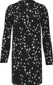 Starfish Print Tunic - style: tunic; predominant colour: navy; occasions: casual, evening, holiday; neckline: mandarin with v-neck; fibres: silk - 100%; fit: straight cut; length: mid thigh; sleeve length: long sleeve; sleeve style: standard; texture group: silky - light; pattern type: fabric; pattern size: small & busy; pattern: patterned/print