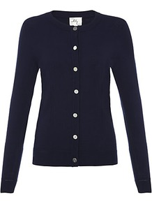 Classic Cardigan - neckline: round neck; pattern: plain; predominant colour: navy; occasions: casual, work; length: standard; style: standard; fit: slim fit; sleeve length: long sleeve; sleeve style: standard; texture group: knits/crochet; pattern type: knitted - fine stitch; pattern size: standard; fibres: viscose/rayon - mix