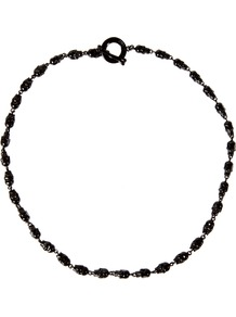 Black Miniature Skull Necklace - predominant colour: black; occasions: casual, evening, work; style: standard; length: short; size: standard; material: chain/metal; finish: plain; embellishment: beading