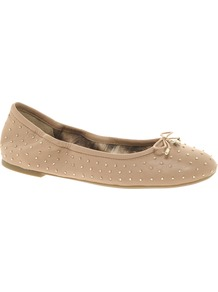 Leather Frankie Shoe - predominant colour: taupe; occasions: casual, evening, work; material: leather; heel height: flat; embellishment: studs; toe: round toe; style: ballerinas / pumps; finish: plain; pattern: plain