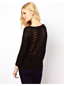 Ladder Back Jumper - neckline: round neck; style: standard; back detail: contrast pattern/fabric at back; predominant colour: black; occasions: casual, work; length: standard; fibres: acrylic - 100%; fit: loose; sleeve length: long sleeve; sleeve style: standard; texture group: knits/crochet; pattern type: knitted - big stitch; pattern size: standard