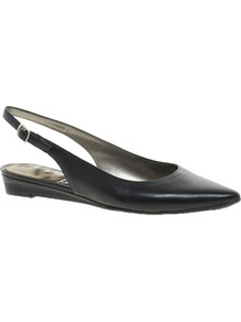 Ionia Flat Slingback Shoes - predominant colour: black; occasions: casual, work; material: leather; heel height: flat; toe: pointed toe; style: ballerinas / pumps; finish: plain; pattern: plain