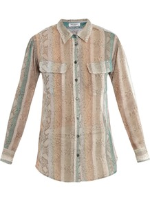 Signature Snake Print Silk Shirt - neckline: shirt collar/peter pan/zip with opening; pattern: vertical stripes, animal print; style: shirt; bust detail: pocket detail at bust, buttons at bust (in middle at breastbone)/zip detail at bust; occasions: casual, work; length: standard; fibres: silk - 100%; fit: straight cut; back detail: longer hem at back than at front; predominant colour: multicoloured; sleeve length: long sleeve; sleeve style: standard; texture group: sheer fabrics/chiffon/organza etc.; trends: statement prints; pattern type: fabric; pattern size: standard