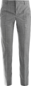 Niccolo Glen Check Wool Trousers - length: standard; pattern: plain, checked/gingham, patterned/print; waist detail: fitted waist; pocket detail: large back pockets, pockets at the sides; waist: mid/regular rise; predominant colour: mid grey; occasions: evening, work; fibres: wool - 100%; hip detail: fitted at hip (bottoms); jeans & bottoms detail: turn ups; fit: slim leg; pattern type: fabric; pattern size: small & light; texture group: woven light midweight; style: standard