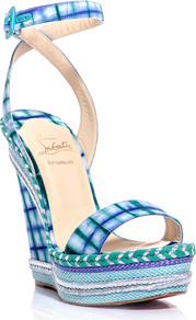 Duplice 140mm Wedge Sandals - predominant colour: turquoise; occasions: casual, evening, occasion, holiday; material: fabric; heel height: high; embellishment: buckles; ankle detail: ankle strap; heel: wedge; toe: open toe/peeptoe; style: standard; trends: statement prints; finish: plain; pattern: checked/gingham, patterned/print
