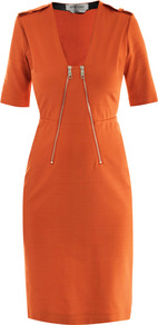 Apuania Dress - style: shift; neckline: low v-neck; fit: tailored/fitted; pattern: plain; shoulder detail: obvious epaulette; bust detail: added detail/embellishment at bust, buttons at bust (in middle at breastbone)/zip detail at bust; waist detail: fitted waist; predominant colour: bright orange; occasions: casual, evening, work, occasion; length: on the knee; fibres: polyester/polyamide - stretch; sleeve length: short sleeve; sleeve style: standard; trends: glamorous day shifts; pattern type: fabric; pattern size: standard; texture group: jersey - stretchy/drapey