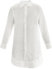 Saluto Shirt - neckline: shirt collar/peter pan/zip with opening; pattern: plain; length: below the bottom; style: shirt; bust detail: buttons at bust (in middle at breastbone)/zip detail at bust; predominant colour: white; occasions: casual, work; fibres: linen - 100%; fit: straight cut; back detail: longer hem at back than at front; sleeve length: long sleeve; sleeve style: standard; texture group: linen; pattern type: fabric; pattern size: standard