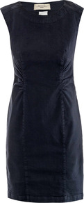 Randers Dress - style: shift; neckline: round neck; sleeve style: capped; fit: tailored/fitted; pattern: plain; waist detail: fitted waist, twist front waist detail/nipped in at waist on one side/soft pleats/draping/ruching/gathering waist detail; predominant colour: navy; occasions: casual, evening, work; length: just above the knee; fibres: cotton - stretch; sleeve length: sleeveless; texture group: cotton feel fabrics; pattern type: fabric; pattern size: standard