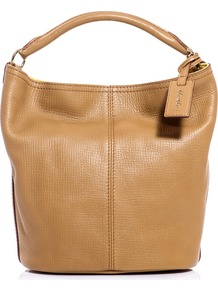 Bona Bucket Bag - predominant colour: tan; occasions: casual, work; type of pattern: standard; style: tote; length: handle; size: standard; material: leather; embellishment: tassels; pattern: plain; finish: plain