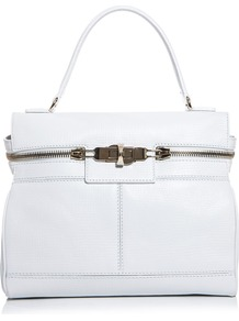 Ginepro Bag - predominant colour: white; occasions: casual, work; type of pattern: standard; style: tote; length: handle; size: standard; material: leather; embellishment: zips, chain/metal; pattern: plain; finish: plain