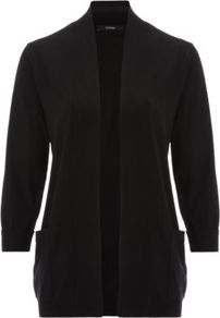 Fine Knit Cardigan Black - sleeve style: dolman/batwing; pattern: plain; length: below the bottom; neckline: collarless open; style: open front; predominant colour: black; occasions: casual, work; fibres: nylon - mix; fit: standard fit; sleeve length: 3/4 length; texture group: knits/crochet; pattern type: knitted - other; pattern size: standard