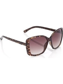 Animal Flocked Tinted Sunglasses - predominant colour: chocolate brown; occasions: casual, holiday; style: square; size: large; material: plastic/rubber; pattern: animal print; finish: plain