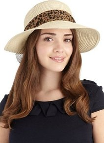 Animal Print Scarf Trim Hat - predominant colour: stone; occasions: casual, holiday; type of pattern: light; style: sunhat; size: standard; material: macrame/raffia/straw; embellishment: ribbon; pattern: animal print, plain