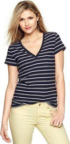 Essential Multi Stripe V Neck T - neckline: v-neck; pattern: horizontal stripes; bust detail: added detail/embellishment at bust; style: t-shirt; secondary colour: nude; predominant colour: mid grey; occasions: casual, holiday; length: standard; fibres: cotton - 100%; fit: body skimming; sleeve length: short sleeve; sleeve style: standard; texture group: cotton feel fabrics; trends: striking stripes; pattern type: fabric; pattern size: standard