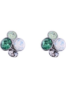 Lynda Green Jewel Cluster Stud Earrings, Green - predominant colour: emerald green; occasions: evening, work, occasion; style: stud; length: short; size: small; material: chain/metal; fastening: pierced; finish: metallic; embellishment: crystals, jewels