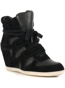 Bea Wedge Hi Top Trainer Shoes, Black - predominant colour: black; occasions: casual; material: suede; heel height: mid; heel: wedge; toe: round toe; boot length: ankle boot; style: high top; trends: sporty redux; finish: plain; pattern: plain