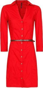 Women's Shirtv Dress, Red - style: shirt; length: mid thigh; neckline: shirt collar/peter pan/zip with opening; fit: tailored/fitted; pattern: plain; waist detail: fitted waist, belted waist/tie at waist/drawstring; bust detail: buttons at bust (in middle at breastbone)/zip detail at bust; predominant colour: true red; occasions: casual, evening, work; fibres: cotton - stretch; sleeve length: 3/4 length; sleeve style: standard; texture group: cotton feel fabrics; trends: glamorous day shifts; pattern type: fabric; pattern size: standard