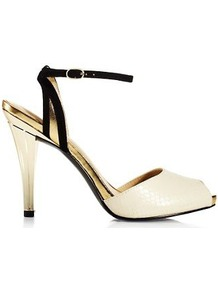 Emilia Peep Toe Sandals, White - predominant colour: ivory; occasions: evening, work, occasion; material: leather; heel height: high; embellishment: buckles; ankle detail: ankle strap; heel: stiletto; toe: open toe/peeptoe; style: standard; trends: metallics; finish: patent; pattern: plain, two-tone