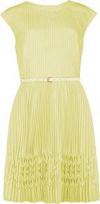 Women's Terna Pleated Hem Dress, Yellow - length: mid thigh; sleeve style: capped; pattern: plain; waist detail: fitted waist, twist front waist detail/nipped in at waist on one side/soft pleats/draping/ruching/gathering waist detail, belted waist/tie at waist/drawstring; back detail: low cut/open back; bust detail: ruching/gathering/draping/layers/pintuck pleats at bust; predominant colour: primrose yellow; occasions: evening, occasion; fit: fitted at waist & bust; style: fit & flare; fibres: polyester/polyamide - 100%; neckline: crew; hip detail: structured pleats at hip, soft pleats at hip/draping at hip/flared at hip; shoulder detail: structured/bulky pleats/bulky detail at shoulder; sleeve length: short sleeve; texture group: sheer fabrics/chiffon/organza etc.; trends: glamorous day shifts; pattern type: fabric; pattern size: standard