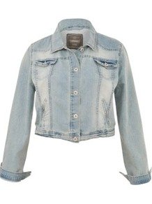 Inspire Light Blue Denim Jacket - pattern: plain; length: cropped; style: denim; predominant colour: pale blue; occasions: casual; fit: straight cut (boxy); fibres: cotton - 100%; collar: shirt collar/peter pan/zip with opening; sleeve length: long sleeve; sleeve style: standard; texture group: denim; collar break: high; pattern type: fabric; pattern size: standard