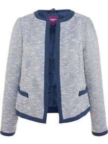 Inspire Blue Boucle Jacket - collar: round collar/collarless; style: boxy; pattern: herringbone/tweed; predominant colour: navy; occasions: casual, evening, work; length: standard; fit: straight cut (boxy); fibres: polyester/polyamide - mix; sleeve length: long sleeve; sleeve style: standard; collar break: high; pattern type: fabric; pattern size: small &amp; light; texture group: tweed - light/midweight
