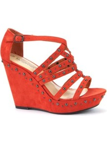 Orange Stud Stappy Wedges - predominant colour: bright orange; occasions: evening, holiday; material: fabric; heel height: high; embellishment: buckles, studs; ankle detail: ankle strap; heel: wedge; toe: open toe/peeptoe; style: strappy; finish: plain; pattern: patterned/print, plain