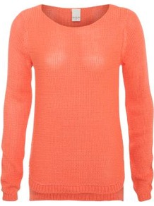 Neon Orange Diego Knit Jumper - neckline: round neck; pattern: plain; style: standard; hip detail: fitted at hip, dip hem, contrast fabric/print detail at hip; predominant colour: bright orange; occasions: casual; length: standard; fibres: polyester/polyamide - 100%; fit: standard fit; back detail: longer hem at back than at front; sleeve length: long sleeve; sleeve style: standard; texture group: knits/crochet; trends: fluorescent; pattern type: knitted - other; pattern size: standard