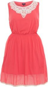 Inspire Coral Crochet Collar Sleeveless Chiffon Dress - neckline: round neck; fit: fitted at waist; sleeve style: sleeveless; bust detail: added detail/embellishment at bust, contrast pattern/fabric/detail at bust; waist detail: elasticated waist, fitted waist, twist front waist detail/nipped in at waist on one side/soft pleats/draping/ruching/gathering waist detail; predominant colour: coral; occasions: casual, evening, holiday; length: just above the knee; style: fit & flare; fibres: polyester/polyamide - 100%; hip detail: ruching/gathering at hip, soft pleats at hip/draping at hip/flared at hip; shoulder detail: added shoulder detail; sleeve length: sleeveless; texture group: sheer fabrics/chiffon/organza etc.; trends: glamorous day shifts, fluorescent, volume; pattern type: fabric; pattern size: big & light; embellishment: embroidered