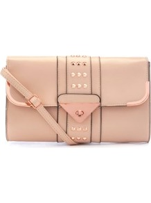 Pink Triangle Lock Stud Clutch - predominant colour: blush; occasions: casual, evening, occasion; type of pattern: standard; style: clutch; length: hand carry; size: small; material: faux leather; embellishment: studs; pattern: plain; finish: plain